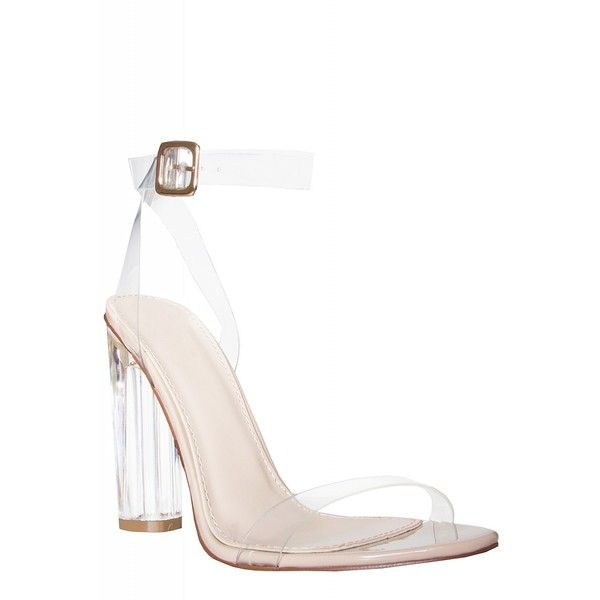 Anastasia Perspex Nude Barely There Heels : Simmi Shoes - Love Your... (£35) ❤ liked on Polyvore featuring shoes, pumps, nude footwear, strappy shoes, nude court shoes, perspex shoes and lucite shoes