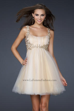 La Femme Short and Cocktail    Goddess inspired design full net gown pleated on the bust. Also embellished shoulder straps leading down to the waist band.    Our Price: $338.00