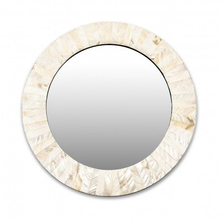 A wonderful marriage or wedding gift in the form of a round mirror decorated with light mother of pearl work.