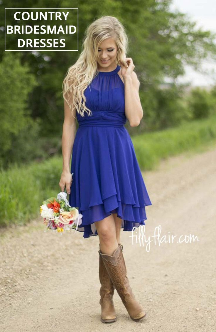 Beautiful country bridesmaid dresses with cowboy boots for your wedding!