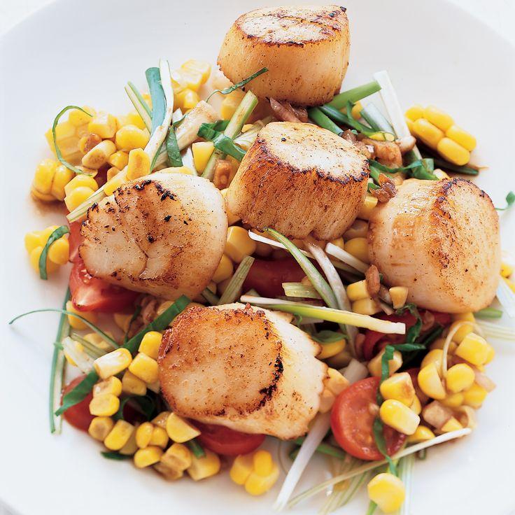 Grilled Sea Scallops with Corn Salad   Food & Wine
