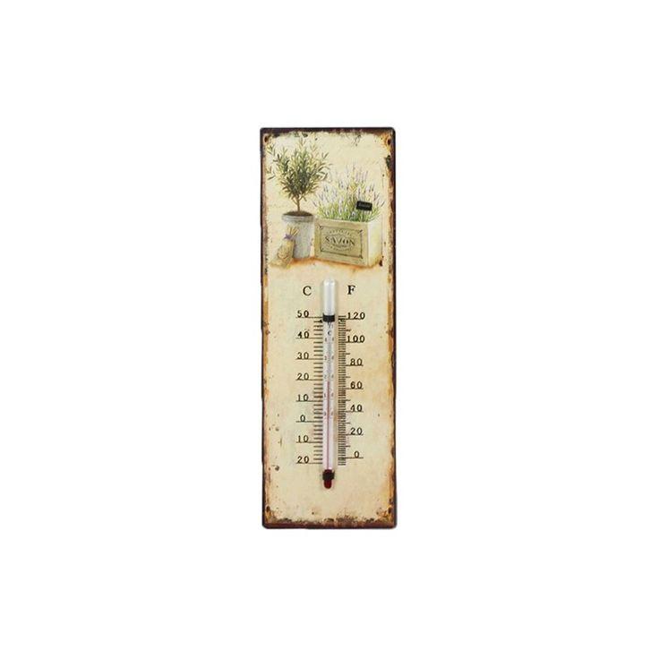 Prowansalski termometr mierzący stopnie w dwóch skalach, ozdobiony krzaczkami lawendy, celowo postarzana blaszka dodaje uroku. Termometr może być dekoracją w domu lub na balkonie.