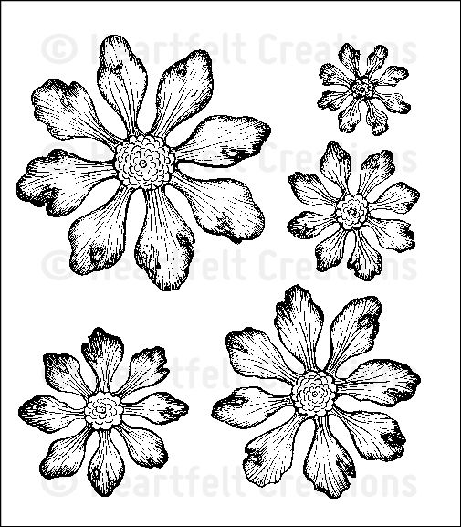 Tattered Blossoms Cling Stamp Set: click to enlarge
