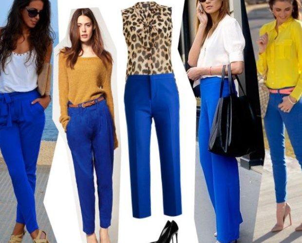 С чем носить синие брюки: советы для женщин.