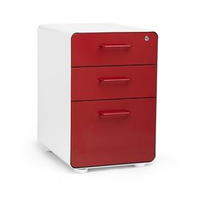 White + Red Stow 3-Drawer File Cabinet,Red