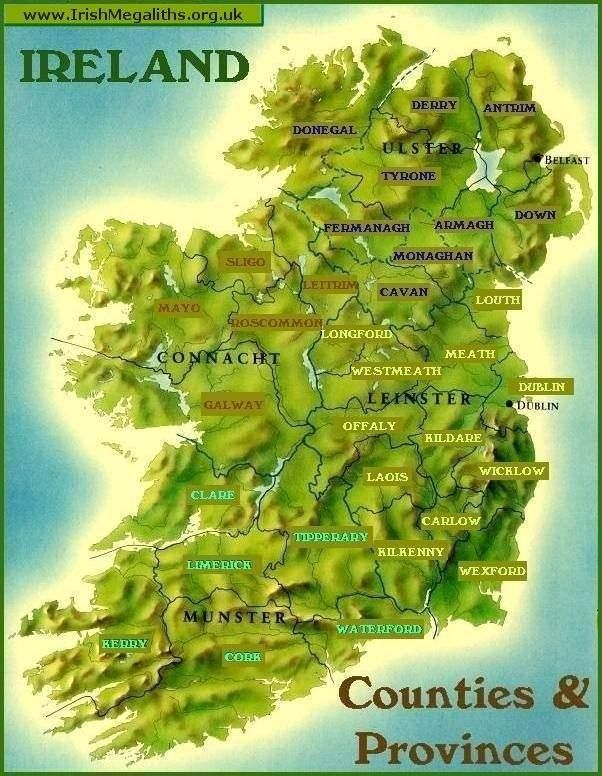 Map Of Ireland With Mountains.Innisfree Is A Fictional Part Of Ireland That Yeats Uses As The