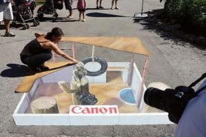 Toronto-based street painter David Johnston uses chalk to make realistic trompe l'oeil images at live events for brands such as 20th Century Fox, Canon, and Loblaws. He creates the seemingly 3-D scenes and objects on flat surfaces such as cement or canvas. Johnston is available for travel throughout the United States and Canada; pricing is available on request.