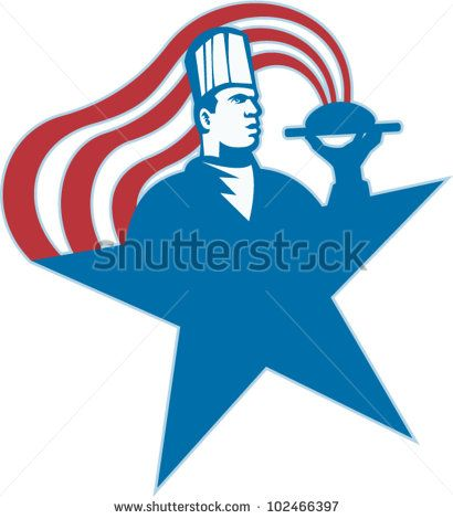Illustration of a chef cook baker serving hot food with stars and stripes done in retro style. #chef #laborday #retro #illustration