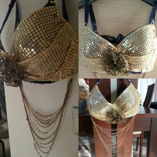 Tribal Gold bra with gold flower