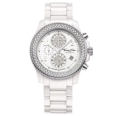 Sparkling White: the combination of radiantly-white ceramic and an exquisitely syn. zirconia stone-adorned bezel makes this THOMAS SABO watch a truly dazzling highlight for the wrist and a wonderful X-Mas gift.