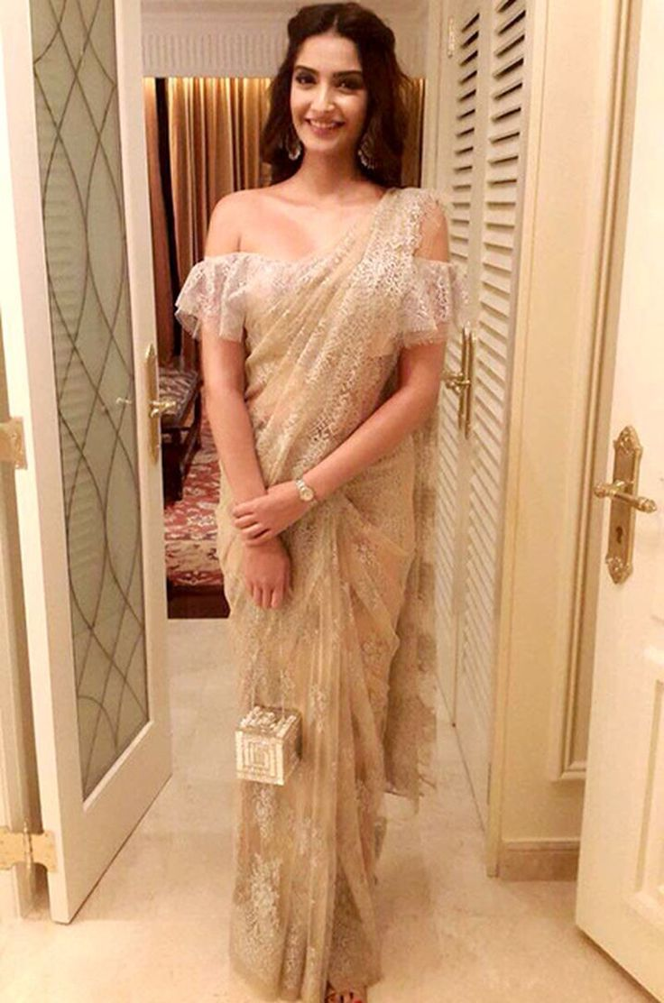 Sonam Kapoor in Anamika Khanna - saree - off the shoulder - Indian fashion - Indian couture - fashion- lace