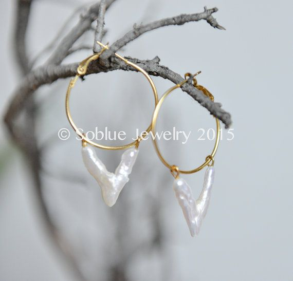 V for Valentine baroque pearls geometric creole earrings gold platted- gift for her