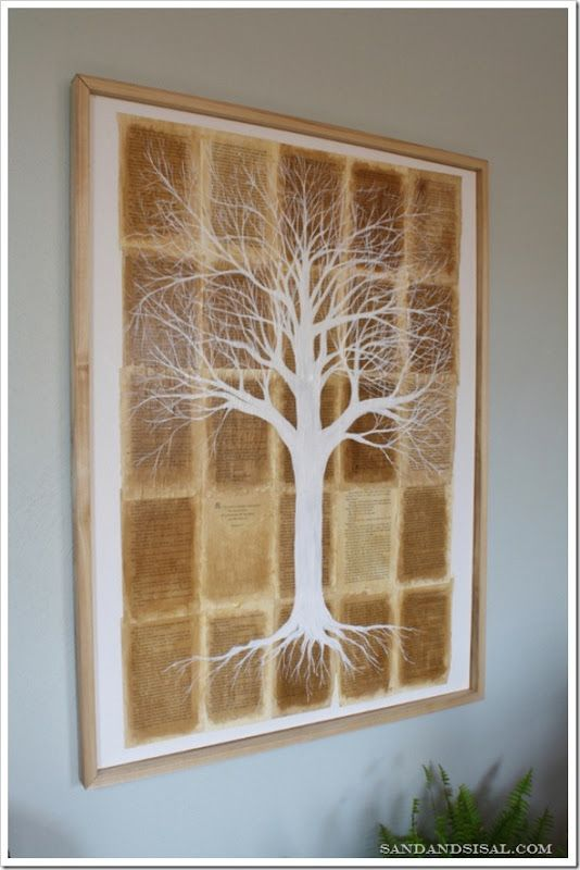 Learn how to recreate this Twilight Art - Tree of Life - Made with torn book pages from the novels & Antique Mod Podge.