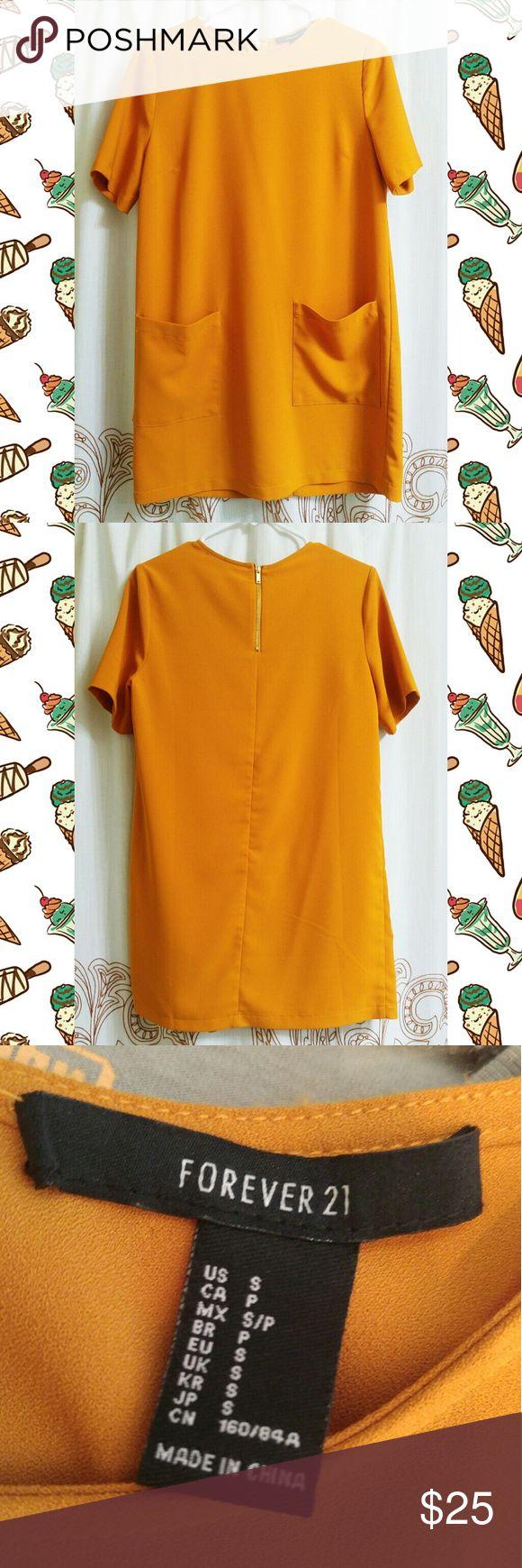 NWOT! Forever 21 Mustard Yellow Dress w/Pockets Never been worn. Very 1960s mod vibe! Gold zipper on back. Forever 21 Dresses Mini