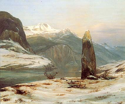 JCDahl-- Winter by the Sognefjord(1827) Motif Slinde(behind of the monument),Fimreite of Sogndal Fjord to left Village on south side of Sognefjord.