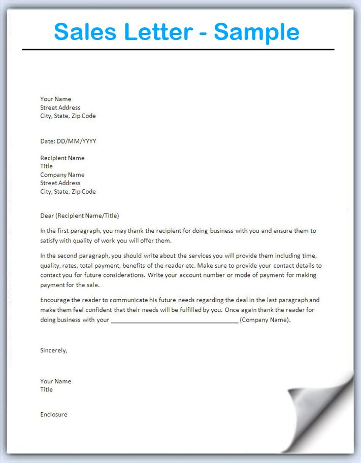 Best Sales Letter Templates Sample Sales Letters To