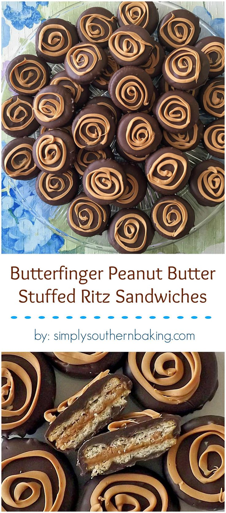 Double chocolate covered Ritz cracker sandwiches with a Butterfinger and peanut butter filling.