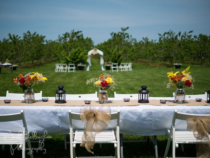 Stunning shot of Orchard Ceremony in the distance with the dining table in the foreground. Gorgeous flowers! #JoshBellinghamPhotography