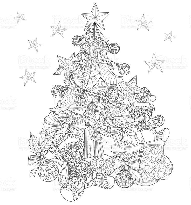 Yetişkin renklendirme sayfa için Noel ağacı süsleri el çekilmiş. royalty-free stok vektör sanatı