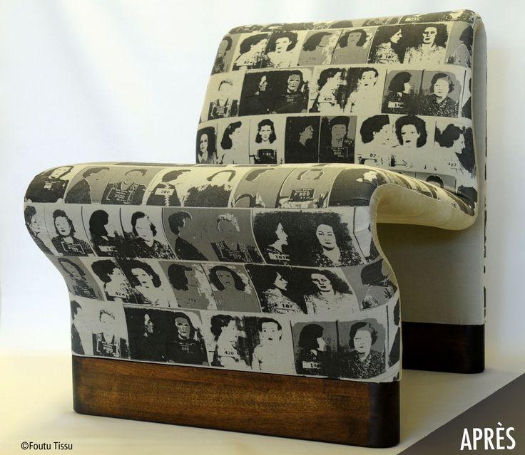 meuble remis à neuf et tissu imprimé par foutu tissu.