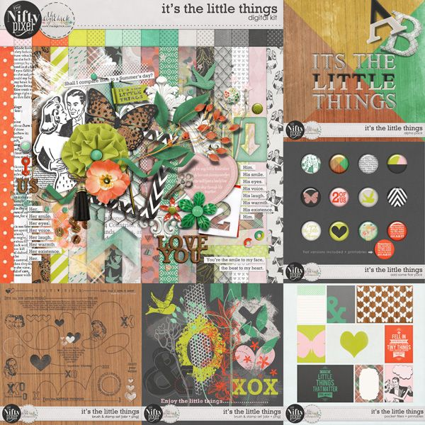 IT'S THE LITTLE THINGS | Collection his collection is sure to fit the bill when creating some gorgeous Valentines or Spring inspired pages. This collection was designed to coordinate with the February 2016 Digiscrap Parade 'It's The Little Things'  You can also grab 2 extra mini's from our blog + a free template download if you subscribe to our newsletter :)  CLICK THE LINK BELOW TO GRAB YOUR FREEBIES.  http://www.theniftypixel.com.au/2016/02/digi-scrap-parade-new-release-its.html