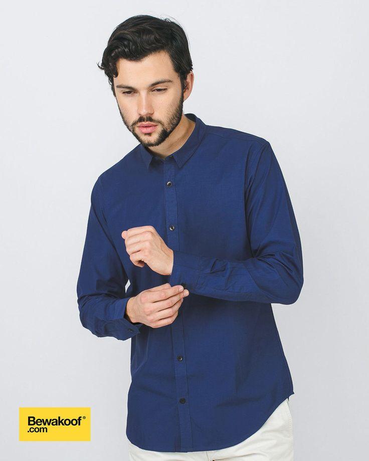 Bewakoof - Royal Blue Slim Fit Full Sleeve Casual Shirt INR 995 at Bewakoof.com