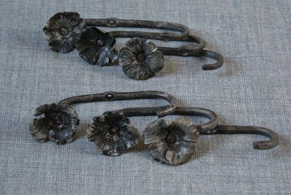 Wall Hooks, flower hooks, hand forged.