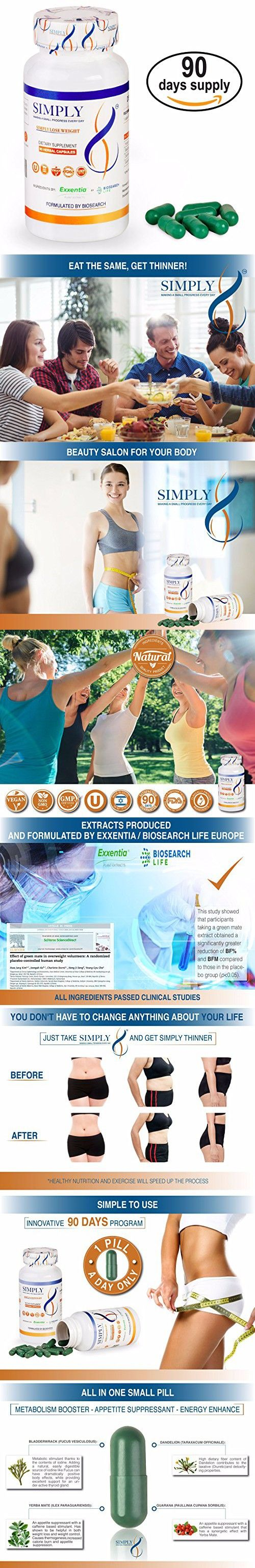 Simply8 - Natural Diet Pills, Clinically Proven Weight Loss Supplement & Appetite Suppressant, Premium Fat Burning Formula, Metabolism Booster & Energy Enhancer, (90-Day Supply), for Both Men & Women