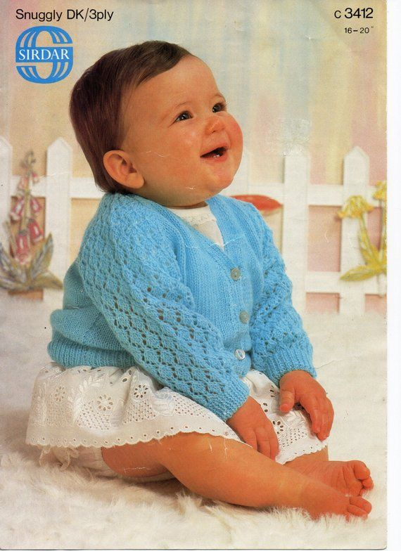 Baby Knitting Pattern pdf download Baby Cardigan Lacy Sleeves V neck ...