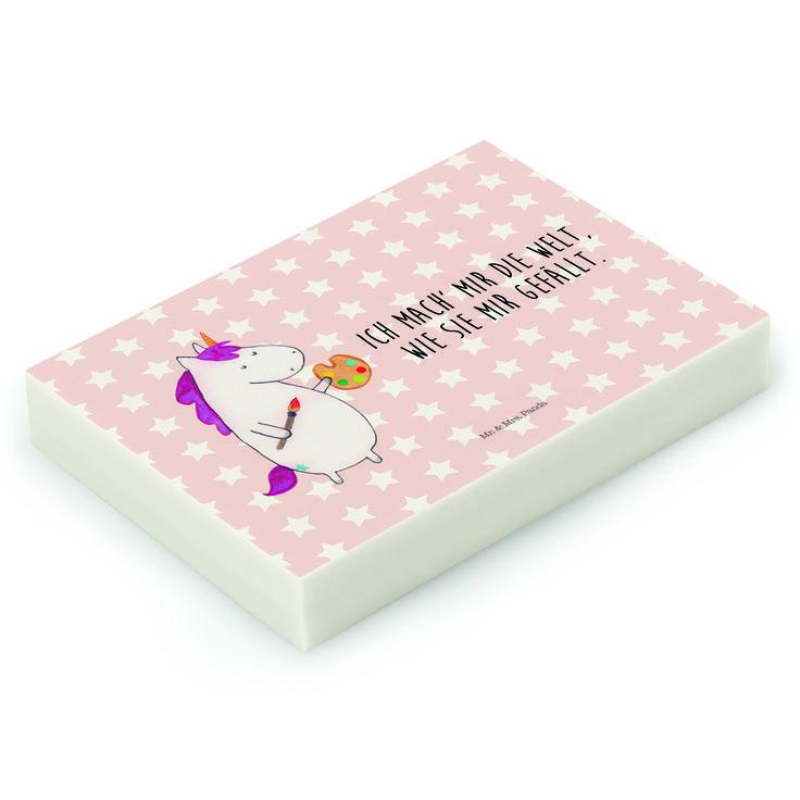 Radiergummi Einhorn Künstler aus Natur Kautschuk   weiß - Das Original von Mr. & Mrs. Panda.  Die einzigartigen Radiergummis von Mr. & Mrs. Panda sind wirklich sehr besonders - sie werden komplett in deutschland gefertigt und von uns in der Manufaktur liebevoll bedruckt. Die Größe beträgt 46 mm x 33 mm und es handelt sich um ein hochwertiges, deutsches Markenprodukt.    Über unser Motiv Einhorn Künstler  Das Künstler-Einhorn ist das perfekte Geschenk für kreative Menschen. Wer würde sich…