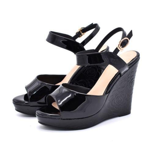 Mujer Verano Sandalias Con Tacón De Cuña Plataforma Peep Toe Hebilla Correa  en el Tobillo Zapatos Chic 32e242b37331