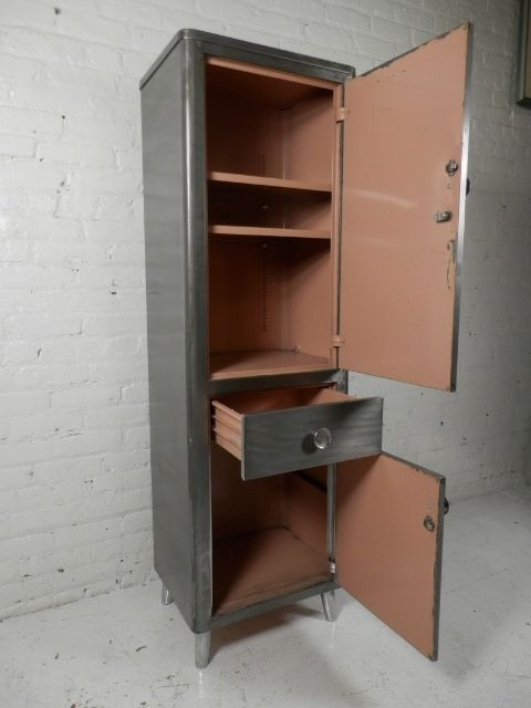 Stripped Metal Two Cabinet Locker