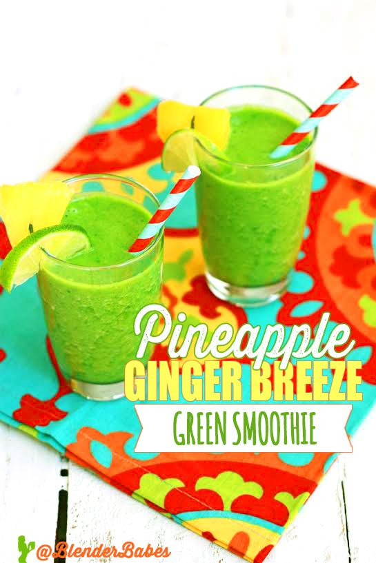 PINEAPPLE GINGER BREEZE KALE GREEN SMOOTHIE RECIPE via @BlenderBabes | If you're…