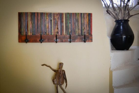 colourfull coat rack from reclaimed wood.(SAVE A TREE LINE)