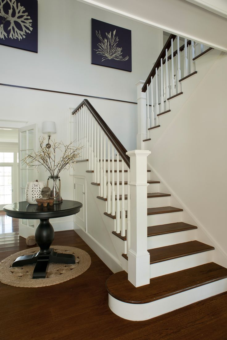 Hamptons style staircase. Made by Genneral Staircase.  Photo Credit: Cadence & Co