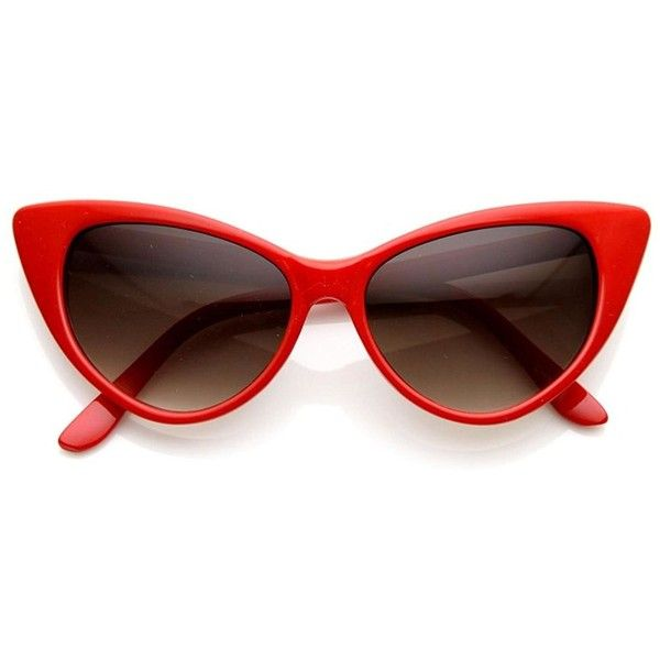 AStyles Super Cateyes Vintage Inspired Fashion Mod Chic High Pointed... found on Polyvore featuring accessories, eyewear, sunglasses, red sunglasses, mod sunglasses, red cateye glasses, vintage style glasses and red cat eye sunglasses