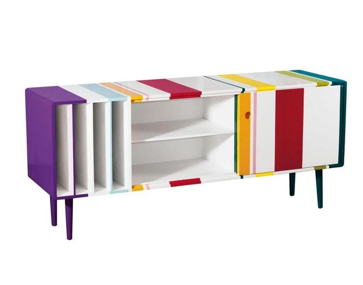 Multi-Coloured Striped Sideboard