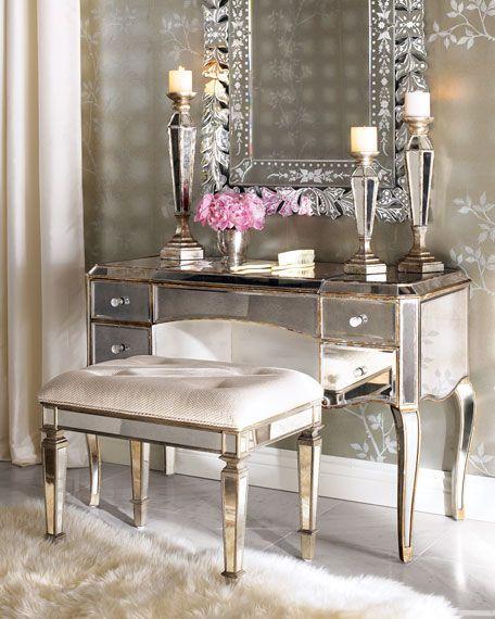 Claudia Mirrored Vanity/Desk  Vanity Seat at Neiman Marcus