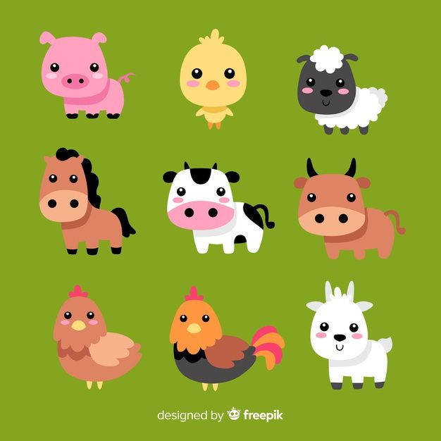 Download Hand Drawn Farm Animal Collection For Free Baby Farm Animals Farm Animals Animal Clipart