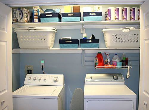 "Laundry room - idea for when you really only have a small ""closet"" for the washer and dryer vs an open area. Like the color blue shown also."