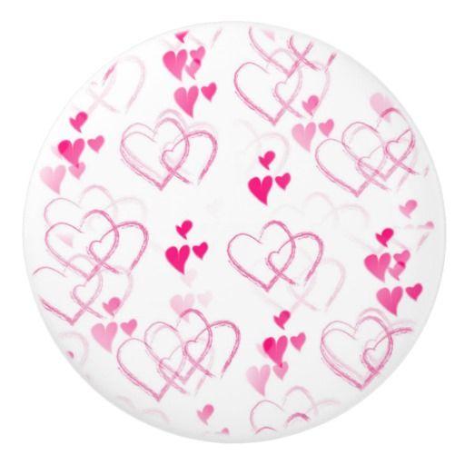 'Floating Hearts' Ceramic Knob