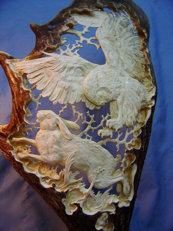 Best antler carving images on pinterest bone