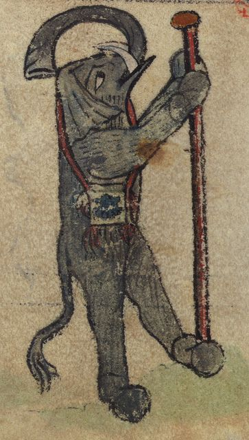Book of Hours showing an elephant as pilgrim; the elephant carries the traditional pilgrim's symbolic attributes of a staff and bag; Walters Manuscript W.102, fol. 73v detail. (Walters Museum)