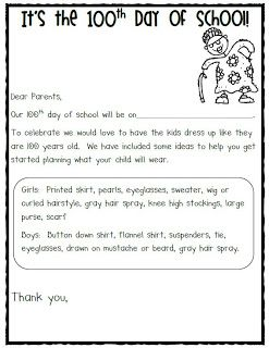 A free letter to send home to ask parents to send kids in dressed like they are 100 years old! TOO CUTE!