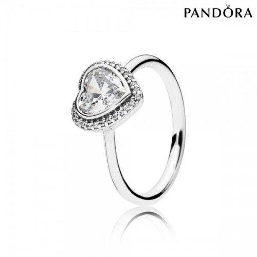 Pandora Bijoux Bague Coeur En Argent Oxyde Et Zircon [Pandora Bague Pas Cher]