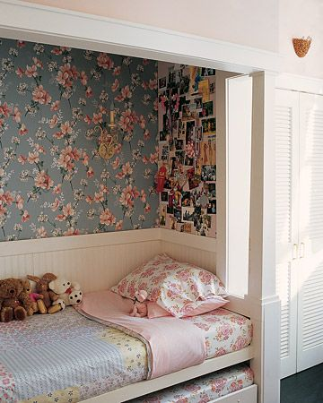 Sweet room for a 6-year-old girl. The contractor created a sleeping nook that includes a bed, trundle, and bookcase. The owner found vintage wallpaper on the Internet.: Child Rooms, Little Girls Rooms, Child Bedrooms, Beds Nooks, Trundle Beds, Bedrooms Ideas, Kids Rooms, Girl Rooms, Built In Beds