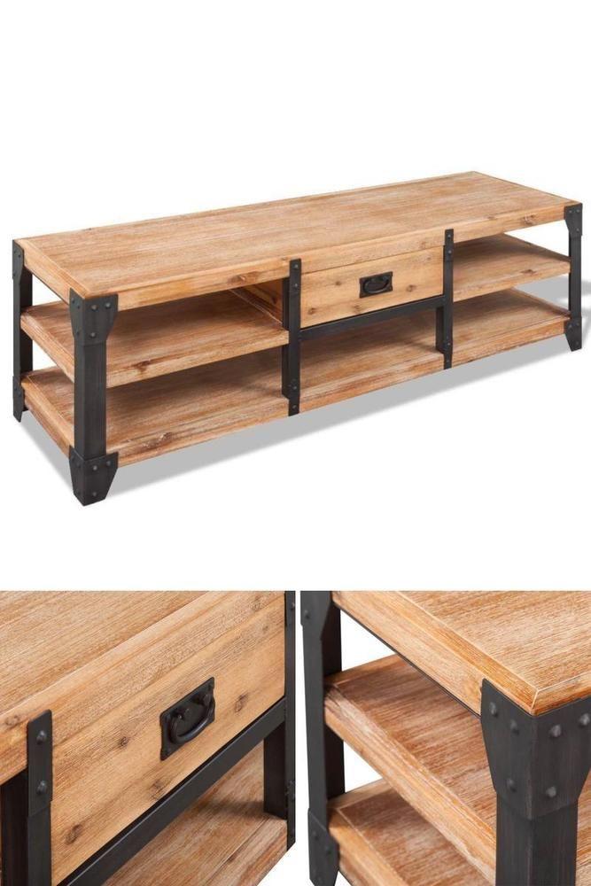 Ordinaire Industrial Tv Stand Wood Metal Media Table Living Room Display Unit  Furniture