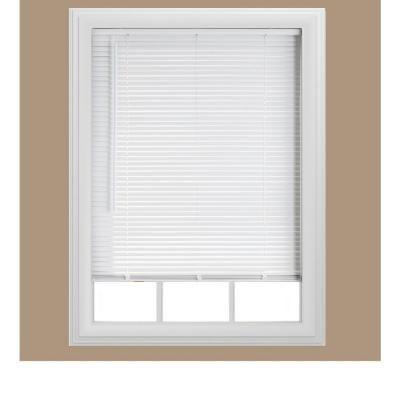 bali cuttosize white cordless 1 in room darkening vinyl mini blind 385 in w x 48 in l