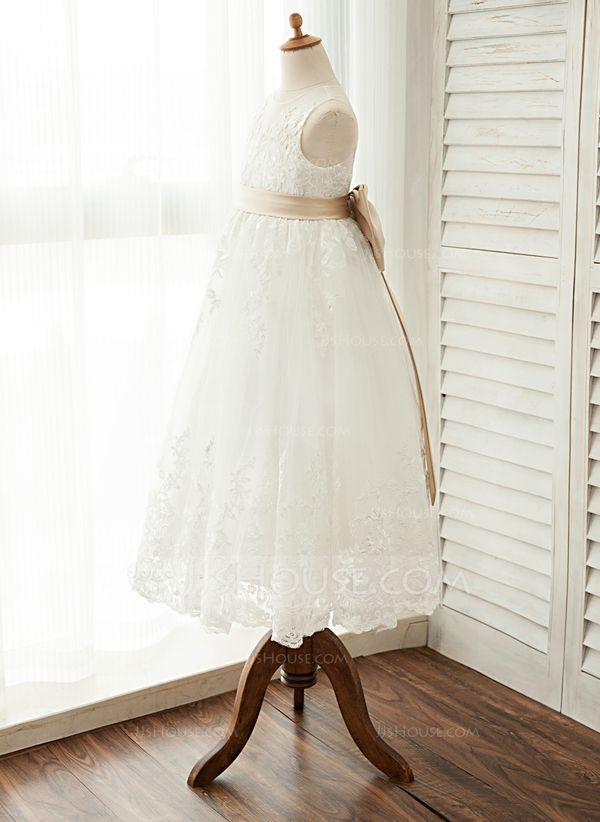c1e60577ae6 A-Line Princess Ankle-length Flower Girl Dress - Satin Tulle Lace Sleeveless  Scoop Neck With Sash Bow(s)