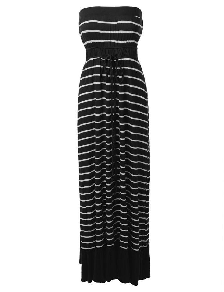 LE3NO Womens Strapless Striped Drawstring Maxi Dress